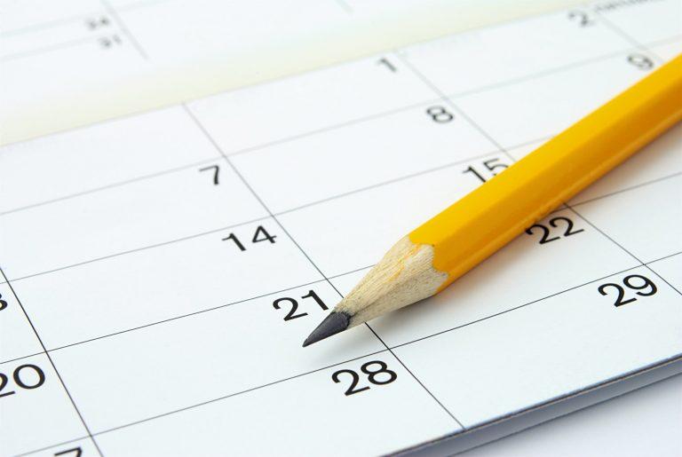 calendar and a pencil